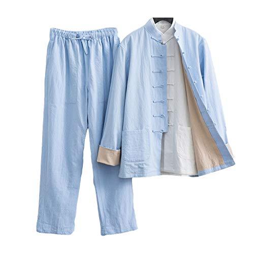 ZHOUXIAO Luźny mundurek Tai Chi męska odzież kung fu z długim rękawem chińskie tradycyjne ubrania, duży rozmiar Tang garnitur Hanfu w tym koszule, spodnie, kurtki sztuki walki garnitur niebieski 1-6XL