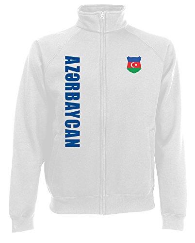 AkyTEX Aserbaidschan Azerbaycan EM-2020 Sweatjacke Wunschname Nr Weiß M