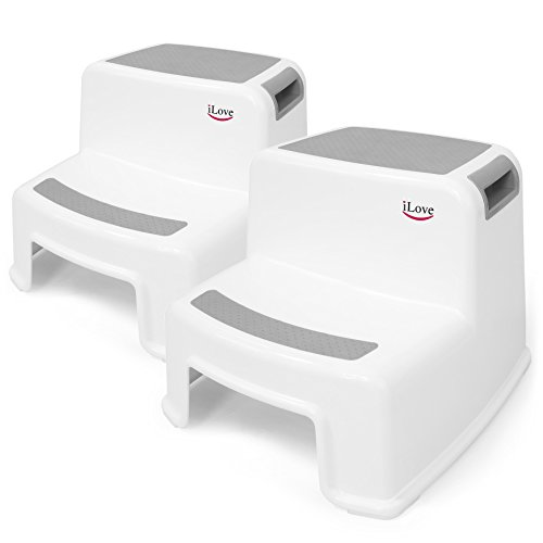 2 Step Stool for Kids (Gray 2 Pack)   Toddler Stool for Toilet Potty Training   Slip Resistant Soft Grip for Safety as Bathroom Potty Stool & Kitchen Step Stool   Dual Height & Wide Two Step   iLove