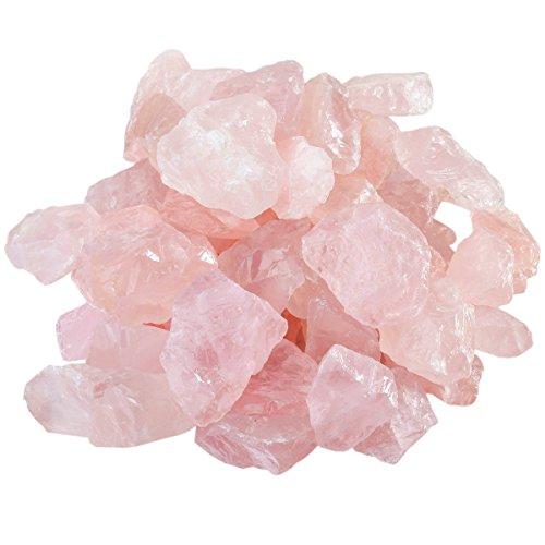 mookaitedecor Piedras de cuarzo rosa en bruto, piedras preciosas minerales para familia/oficina/jardín/acuario, decoración de cristal, reiki y curación (460 g)