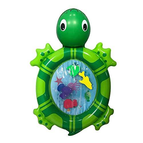 Taloit Esterilla de agua inflable para bebé, colchoneta de agua inflable con forma de tortuga de mar para bebés y niños pequeños, 70 x 50 cm