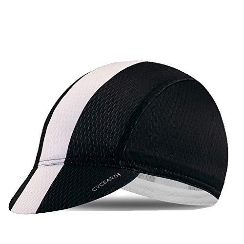 CYCEARTH Gorra de ciclismo para el sol PloPolyester transpirable gorra de béisbol para los hombres impresionantes gorras de motocicleta - negro - talla única