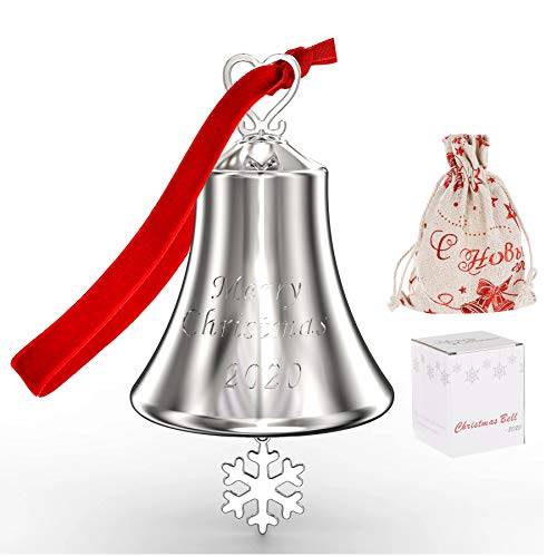 2020 Annual Christmas Bell, Ornaments for Christmas Tree Decorations, Ornament Bell Ornaments for Christmas Tree - Hanging Bell Ornament with Red Tie Ribbon - Engraved Christmas 2020 Annual Edition