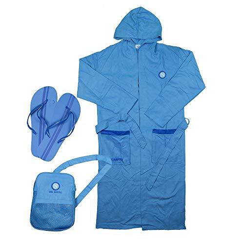 SSC NAPOLI P19b3n90654 - Albornoz de microfibra unisex para niños, color celeste, 5 – 6 años