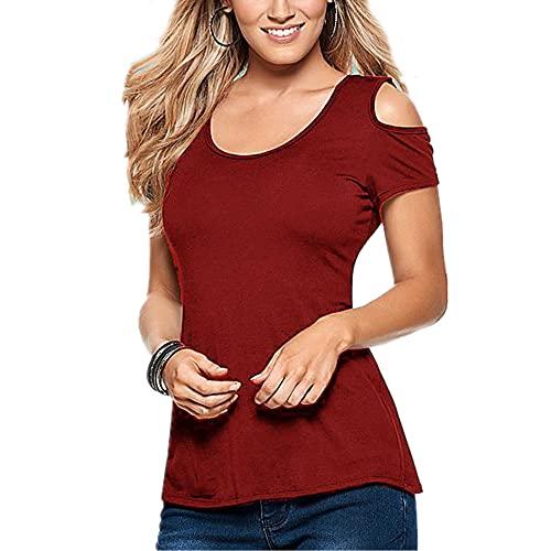 Camiseta Mujer Manga Corta Cuello Redondo Sexy Sin Tirantes Blusa Mujer Color Sólido Ajustado Cómodo Moda Tops Mujer Verano Playa De Arena Vacaciones Mujer Tops B-Red 3XL