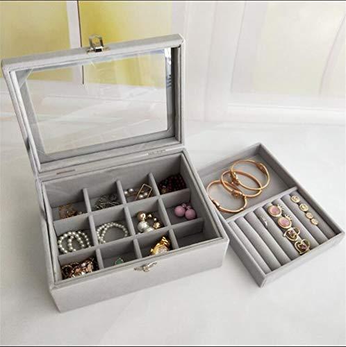 Organizador de maquillaje europeo transparente a prueba de polvo esponjoso caja de joyería anillo pendientes joyería mano joyería pequeña capacidad caja de almacenamiento (color: 20 x 15 x 8,5 cm)