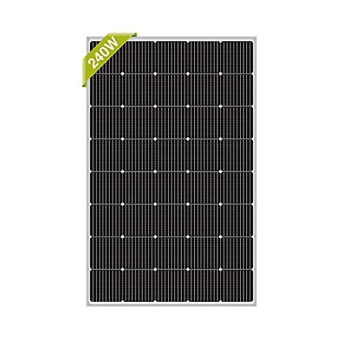 Newpowa 240W(Watts) Monocrystalline Solar Panel 200W<240W<300W High-Efficiency Mono Cells 12V Off-Grid Charge System for RV Marine Boat Rooftop