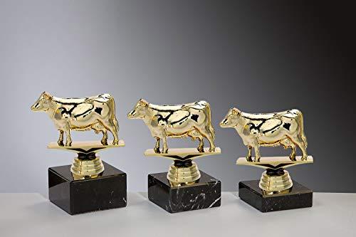 Henecka 🐄 Landwirtschaft Trophäe Viehzucht Pokal Schraubfigur goldene Kuh, Marmorsockel schwarz, mit Wunschgravur, wählbar in 3 Größen oder als 3er-Serie (Sockel 65 x20 mm)