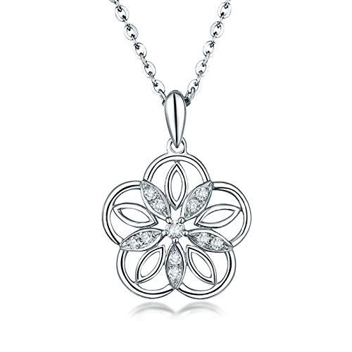 AnazoZ Collar Diamante Mujer,Colgante Oro Blanco 18K y Diamante Plata Flor Hueca Diamante 0.1ct