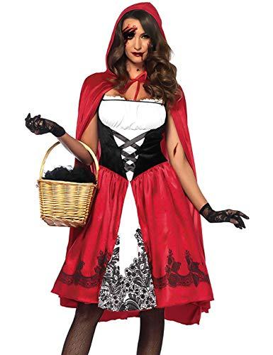 LaLaAreal Disfraz Halloween Caperucita Roja Mujer Cosplay Carnaval Navidad Fiesta con Capa (Disfraz Halloween-3, XL)