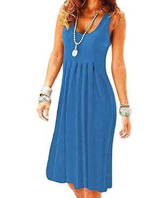 VERABENDI Women's Summer Casual Sleeveless Mini Plain Sundresses Pleated Vest Dresses