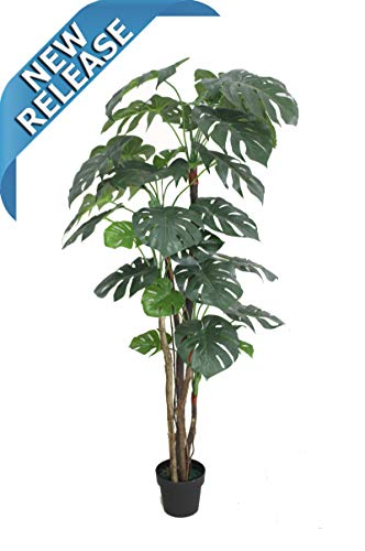 AMERIQUE Gorgeous & Unique 6 Feet Pre-Potted Monstera Palm Split Philo Artificial Plant Silk Tree, Real Touch Technology, with UV Protection, Indoor & Outdoor, Super Quality, 6', Green
