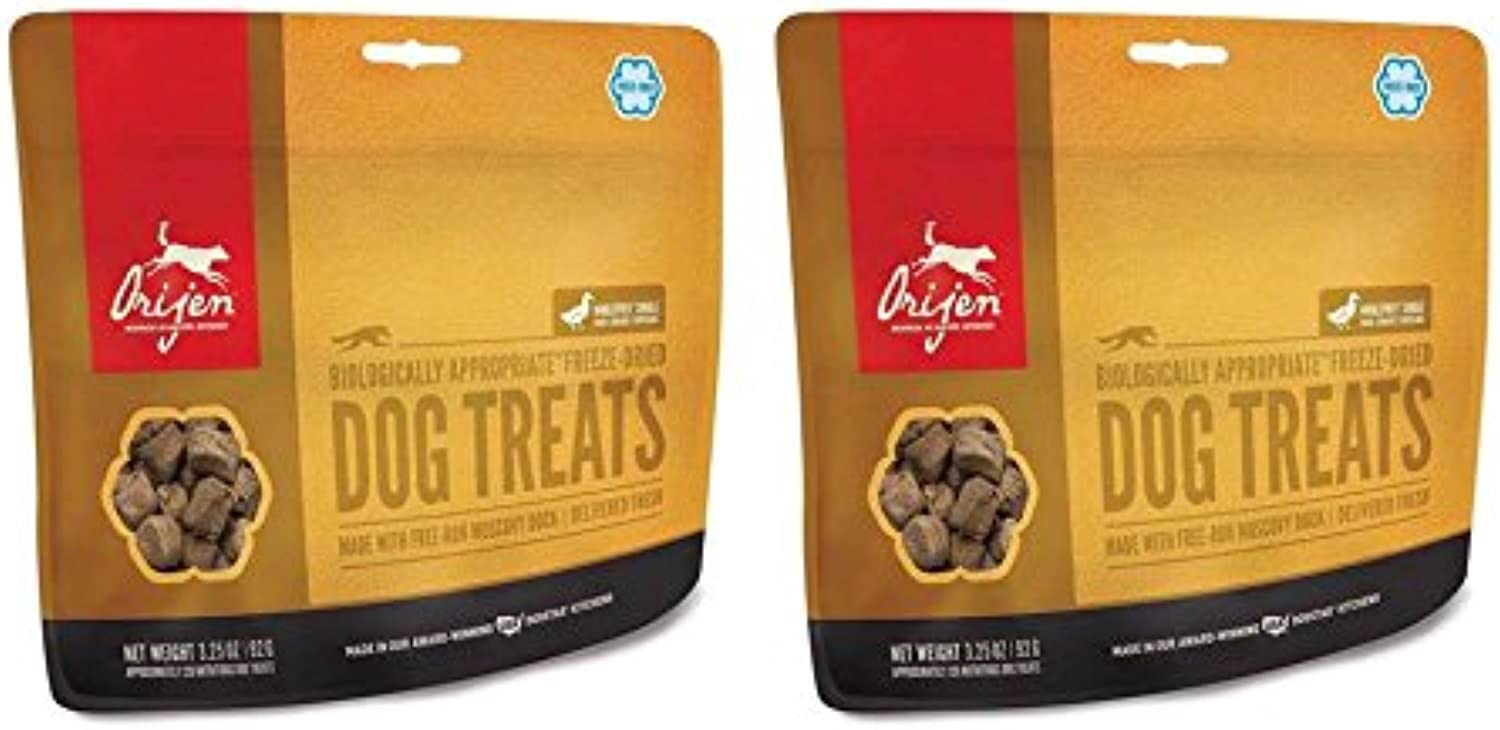 2 Pack ORIJEN Freeze Dried Duck Dog Treat 3.25 ounce ea.