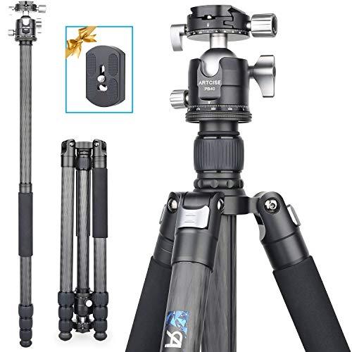 ARTCISE AS85C Kohlefaser-Stativ Professioneller Hochleistungs-Stativ Einbeinstativ Doppelpanorama-CNC-Kugelkopf für DSLR-Kamera-Camcorder, maximale Höhe 184.5 cm, maximale Belastung 25 kg
