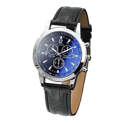 2021 Hombres Reloj de Cuarzo Reloj de Cristal Azul Reloj Neutro Cuarzo simula el Reloj de Pulsera Pulsera(Negro)