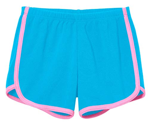 City Threads Girls Running Workout Shorts Yoga Sport Fitness Short Retro Dolphin Short Summer Lounge Gym Play Beach Park SPD Clothing, Turquoise/Bubblegum Trim, 12