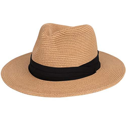 Maylisacc Sombrero de Paja Hombre Verano, Sombrero Panama de ala Ancha Empacable Plegables Sombrero...