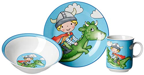 Ritzenhoff & Breker Vajilla infantil (3 piezas), diseño de dragón, color azul