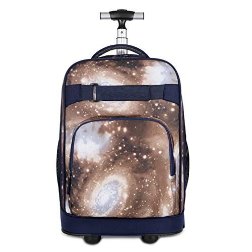 FREETT Youth Trolley Backpack, Multifunctional Wheeled Laptop Backpack, for Student Boarding and University, Men Trolley Suitcase, Brown, 31 * 21 * 46 cm