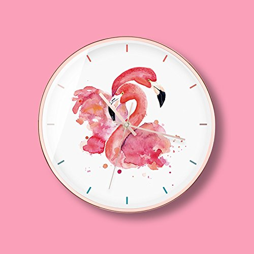 ZYLE-Wall Clock Flamingo Pattern Wall Clocks 12.0 inches Modern Art Style Gold Metal Frame Silent Non-Ticking Quartz Clock for Home/Office (Size : A)
