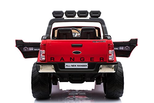 RC Auto kaufen Kinderauto Bild 3: ES-TOYS Kinderfahrzeug - Elektro Auto Ford Ranger, Modell - lizenziert - 2X 12V7AH Akku,4 Motoren 2,4Ghz MP4 Ledersitz Eva 2 Sitzer (Rot)*