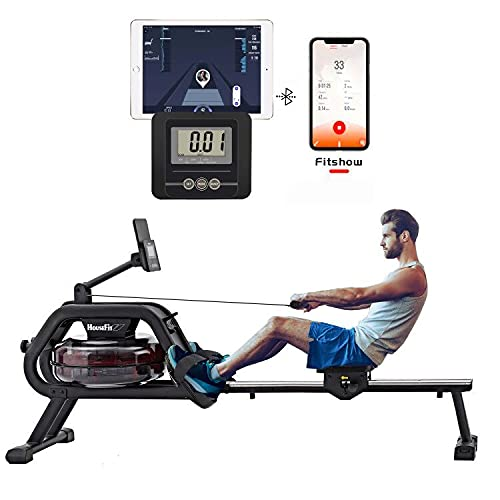 HouseFit Water Rower Rowing Machine 330Lbs Weight Capacity for Home use Water Resistance Row Machine Exercise Equipment with iPad and Phone Support LCD Digital Monitor by HouseFit