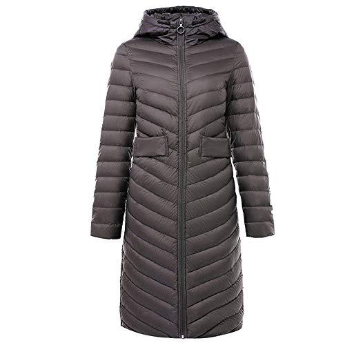MLX-BUMU lange donsjas met grijze capuchon donzen dikke winddichte warme Koreaans zwart rood ultralichte winterjas vrouwen mantel