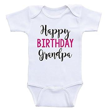 Birthday Baby Clothes  Happy Birthday Grandpa  Grandpa s Birthday Baby Shirt  3mo-Short Sleeve Hot Pink Text