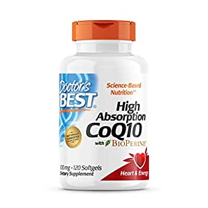 Doctor's Best High Absorption CoQ10 with BioPerine, Gluten Free, Naturally Fermented, Heart Health, Energy Production, 100 mg, 120 Count