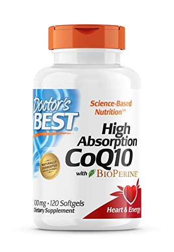 Doctor's Best High Absorption CoQ10 with BioPerine, Gluten Free, Naturally Fermented, Heart Health,...