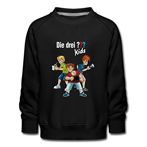Die DREI Fragezeichen Kids Detektive Spürnasen Kinder Premium Pullover, 134-146, Schwarz