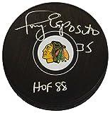 Tony Esposito Signed Chicago Blackhawks Logo Hockey Puck w/HOF 88