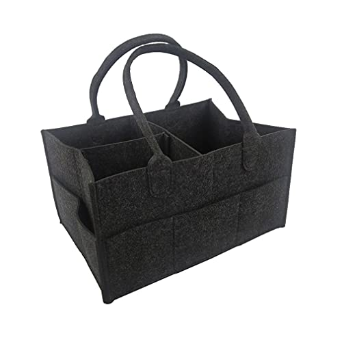 Cesta de pañales para niños Cesta de Almacenamiento Cesta de Fieltro Compartimentos Intercambiables Bolsa para toallitas (Gris Oscuro 33 * 23 * 18,5 cm)