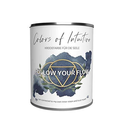Colors of Intuition Echte Kreidefarbe - Wandfarbe - Innenfarbe - Deckenfarbe, 2.5L, Farbe: Follow Your Flow Dunkelblau matt, hochdeckend