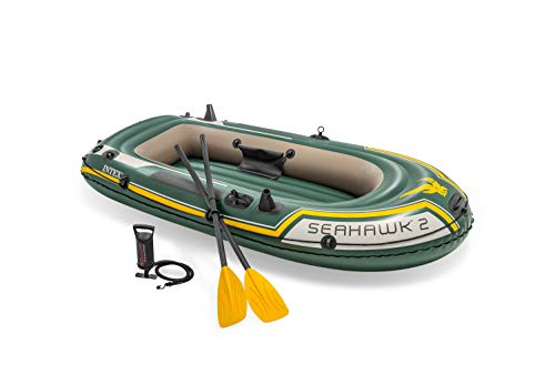 Intex Seahawk 2, 2-Person Inflatable Boat Set with French Oars and High Output Air Pump (Latest...