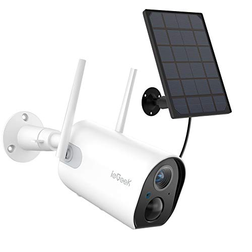 ieGeek WiFi Outdoor Security Camera, Wireless Solar and Rechargeable Battery Home Surveillance Camera,1080P, PIR Motion Detection, Night Vision, 2-Way Audio, 4dBi Antenna, IP65 Waterproof, Cloud/SD