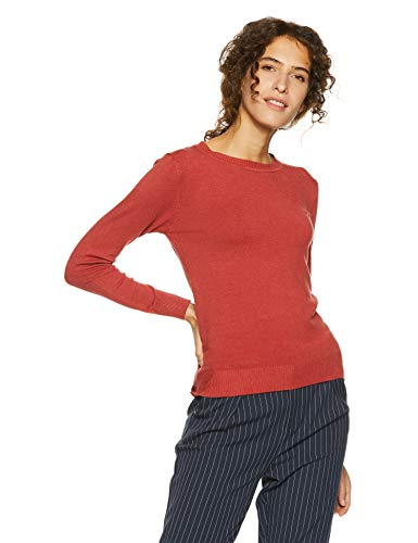 Qube By Fort Collins Women's Sweater (CH101_Rust Red_L)