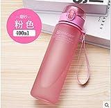 Zur Schule gehen Junge Trinkbecher Haushalt mit Deckel gerade Trinken kleinen Mund Anti-Fall-Kinderschale gefrostet rosa 400ml