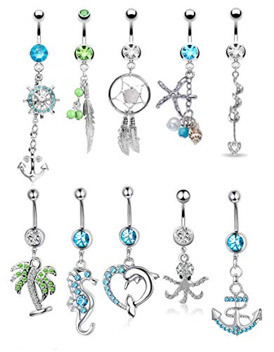 FIBO STEEL 9-10 Pcs Dangle Belly Button Rings