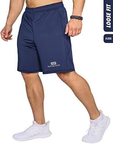 Satire Gym Loose Fit Shorts Herren - Kurze Sport Hose - Bekleidung geeignet für Fitness, Workout & Training, navy blue, L