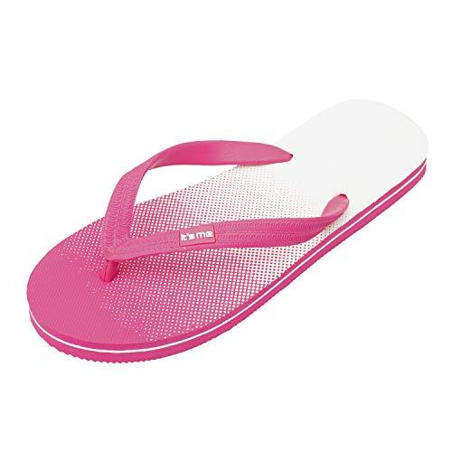 It's me Flip Flops Damen | die weichsten Flip Flops Aller Zeiten | 100% Naturkautschuk | Breiter Stil (1 cm Breiter) | schadstofffrei | 0% PVC, Pink Weiss, 36/37 EU