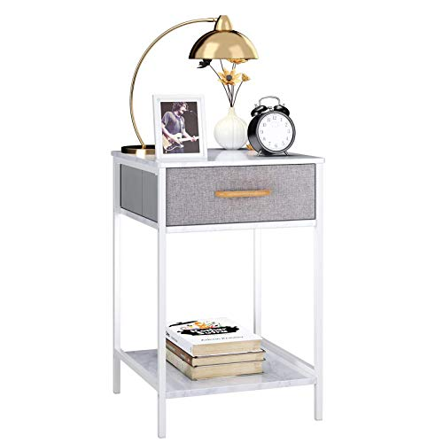 HOMFA Nightstand, 2-Tier End Table Side Table with Drawer, Shelf Dresser Storage...