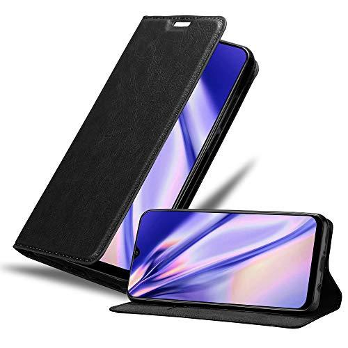 Cadorabo Hülle für Samsung Galaxy A30S in Nacht SCHWARZ - Handyhülle mit Magnetverschluss, Standfunktion & Kartenfach - Case Cover Schutzhülle Etui Tasche Book Klapp Style