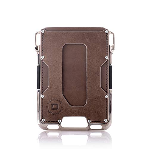 Dango M2 Maverick Wallet - Brown Rawhide/Raw Nickel-Plated Aluminum - Made in USA