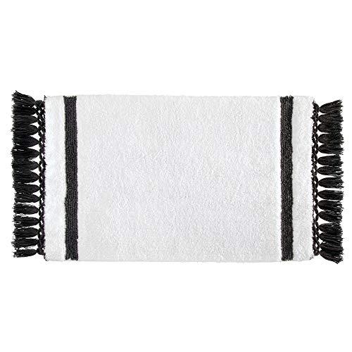 iDesign Stripe Fringe tapis de bain doux, sortie de douche rectangulaire en coton, blanc et gris anthracite