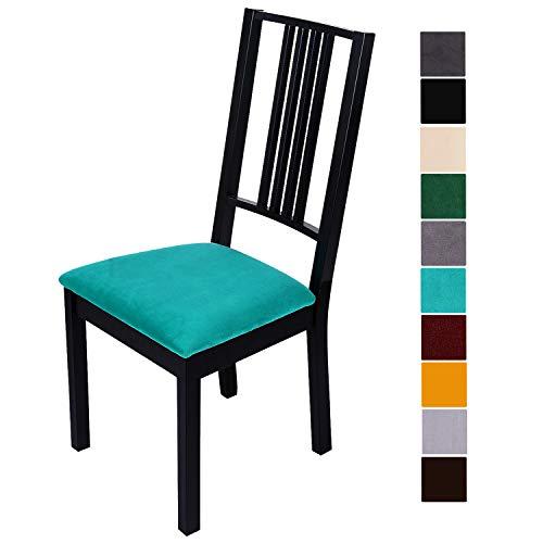Homaxy - Funda de asiento de terciopelo suave para silla de comedor, elástica, lavable, funda protectora para sillas, terciopelo, Color verde., 4 unidades