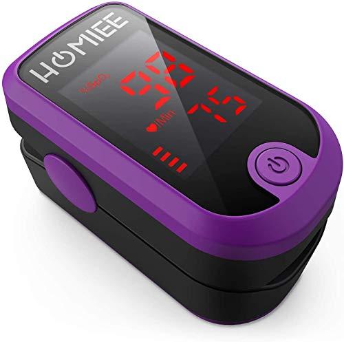 HOMIEE Oxímetro de Pulso, Pulsioxímetro de Dedo Profesional, Medidor de Oxígeno en Sangre SpO2 (Púrpura)