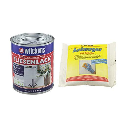 Set 1x Fliesenlack 0,75 Liter (weiß) mit 1x Anlauger und Entfetter Pulver 100 Gramm
