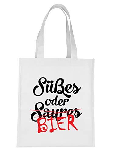 clothinx Süsses oder Saures Bier Halloween Horror Motiv Einkaufstasche Weiß
