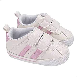 Mix and Max Pull-Tab Contrast-Stripe Low-Top Velcro-Strap Shoes for Girls - Off White and Pink, 0-6 Months